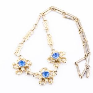 Jewelry - Gold and Blue Choker Style Necklace, Floral Design